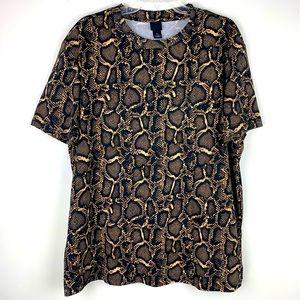 H&M Snakeskin Patterned T-Shirt Sz L